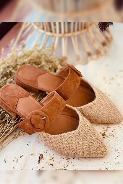 Gelinlik Ayakkabıcım Kadın Kahverengi Rahat Ve Konforlu Hasır Terlik