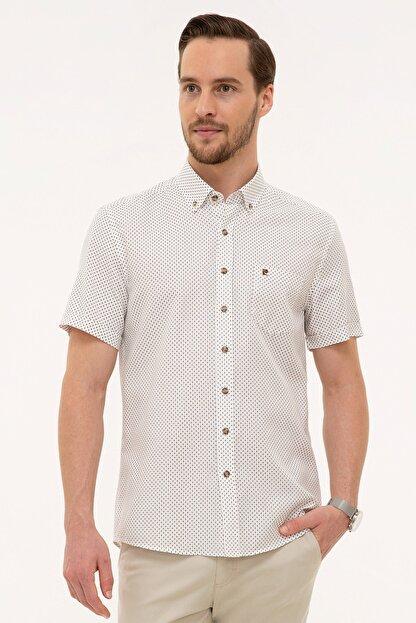 Pierre Cardin Kahverengi Detaylı Beyaz Regular Fit Kısa Kollu Gömlek