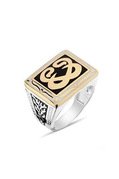 Nali Şerif Gümüş Vav Harf Desenli Gümüş Erkek Yüzüğü