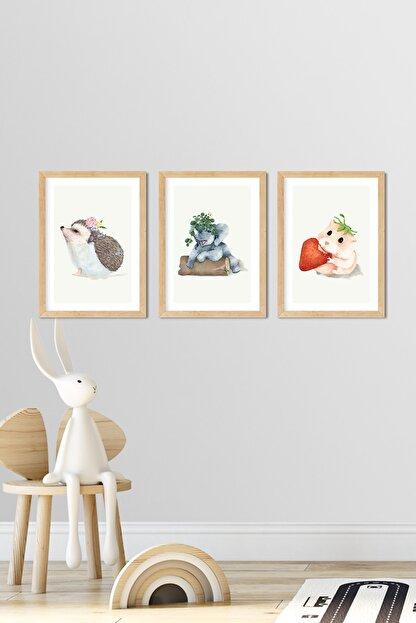 Norm Design Bebek & Çocuk Odası 3'lü Çerçeveli Poster Tablo Seti