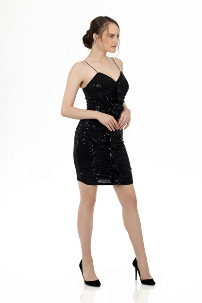 6ixty8ight Siyah Önü Drapeli Askılı Abiye Elbise