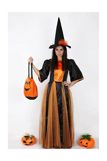 Annee Bakk Turuncu Tüllü Cadı Kostümü Yetişkin
