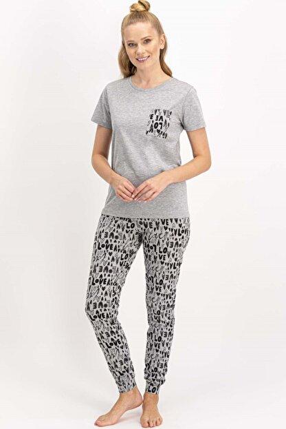 Rolypoly Arnetta Lıvıng Kadın Gri Kısa Kol Pijama Takımı Ar860