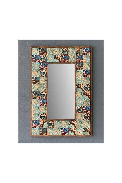 Oscar Stone Decor Taş Mozaik Ayna 43 X 63 Cm Mavi Yaprak Desenli Dresuar Üstü