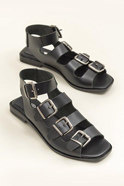 Elle Hakiki Deri Rahel Siyah Kadın  Sandalet 20YEK3143754