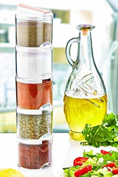 Kitchen Life Akrilik Renkli Geçmeli 5'Li Bremen Baharatlık Seti
