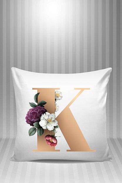 Phi Ajans Beyaz K Harfi Çiçek Desenli 1 Yastık