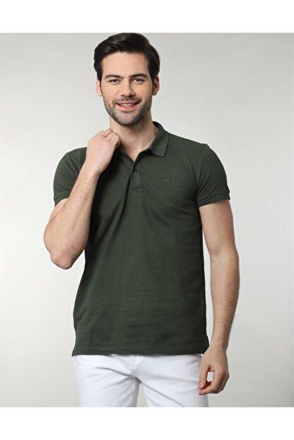 Tudors Erkek Yeşil Polo Yaka Düz Spor Erkek T-shirt