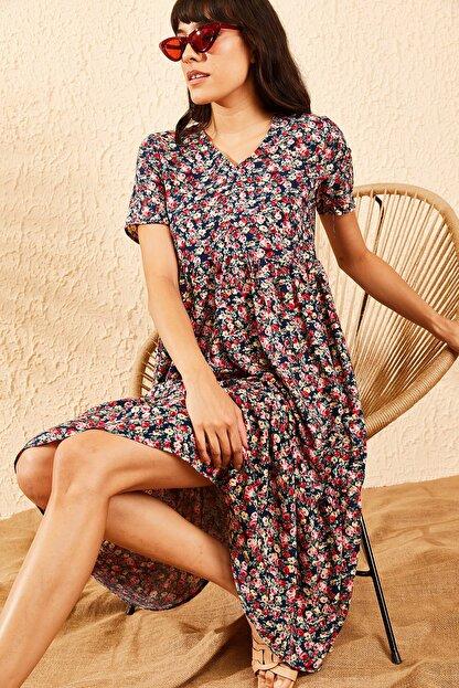 Bianco Lucci Kadın Lacivert Beli Lastikli V Yaka Eteği Fırfırlı Kloş Elbise 10091007