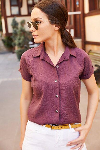 armonika Kadın Mürdüm Kısa Kol Gömlek Arm-19Y001088