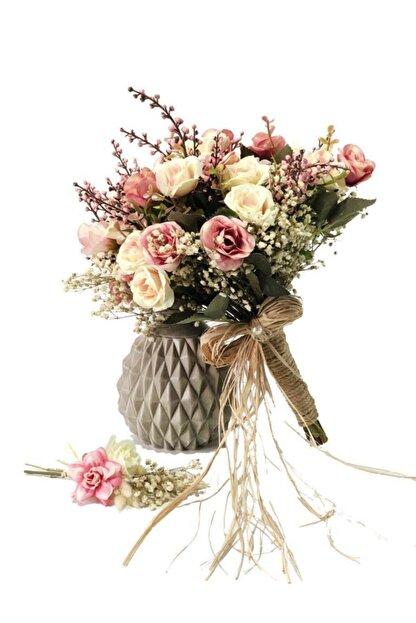 Nettenevime Gelin Buketi Gelin Çiçeği Yapay Çiçek - Damat Yaka Çiçeği