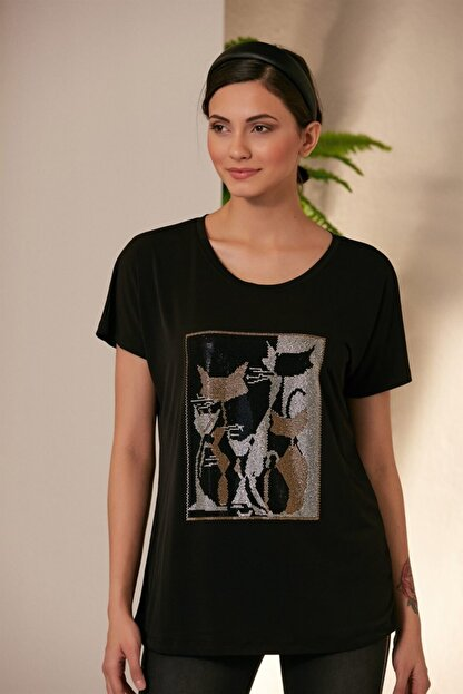 Rmg Kadın Siyah Kedi Desenli T-shirt