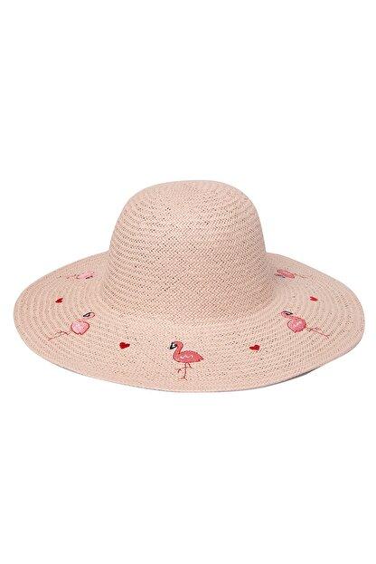 OnMyHead Kadın Pudra Flamingo Desenli Hasır Şapka