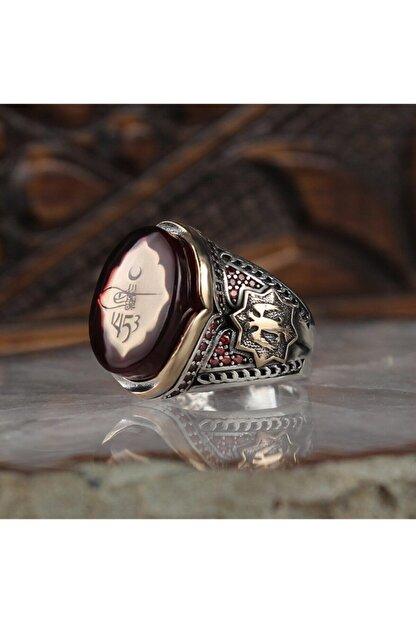 Dipfiyatlar Kehribar Taşlı Tuğralı 925 Ayar Gümüş Erkek Yüzük