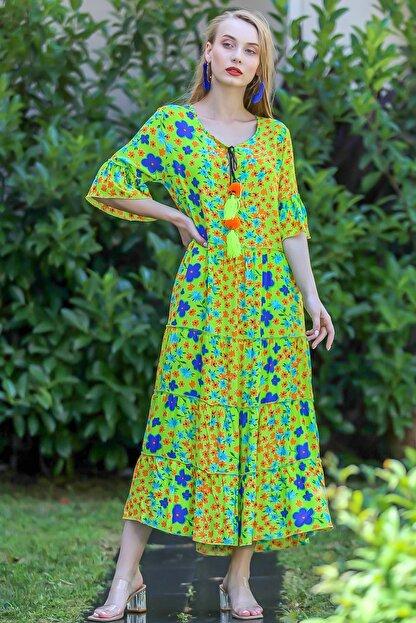Chiccy Kadın Yeşil Bohem Çıtır Çiçek Desenli El Işi Püskül Detaylı Salaş Elbise M10160000El96565