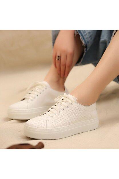 İskarpin Kadın Beyaz Kalın Tabanlı Deri Sneaker