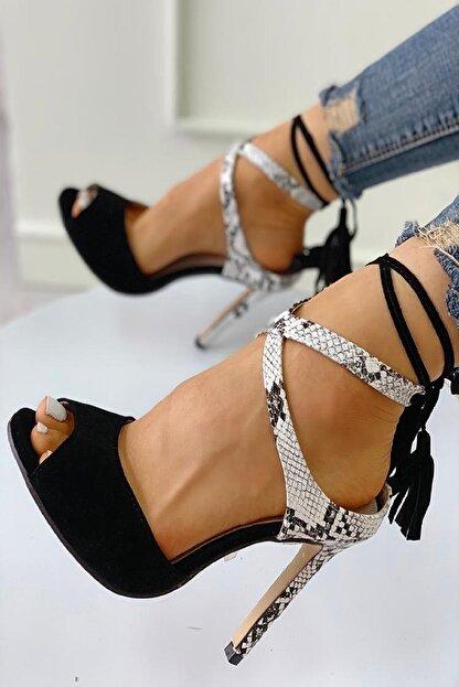 trendyes Siyah Süet Yılan Derili Püsküllü Topuklu Ayakkabı