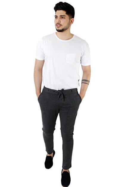 Stil Kombin Erkek Koyu Füme Captiva Çizgili Bilek Boy Pantolon