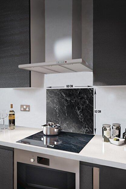 Decorita Siyah Mermer Görünümlü | Cam Ocak Arkası Koruyucu   |  52cm x 60cm