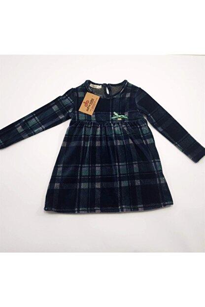 anakuzusu Via Kız Bebek Ekoselı Kadife Elbise