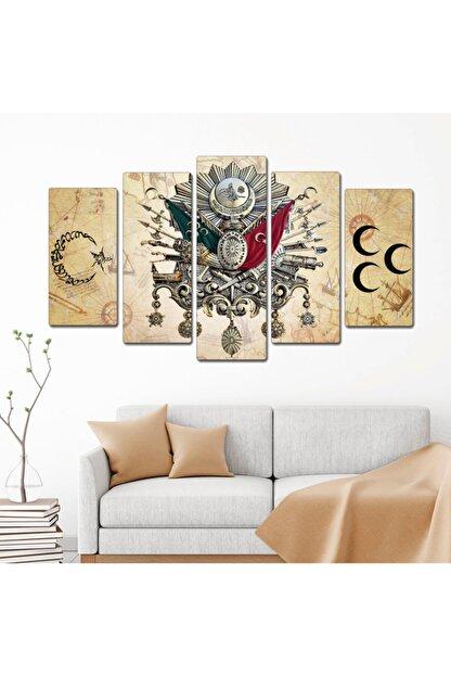 bu tablolar harika Osmanlı Kahve Zemin Ay Yıldız Dekoratif 5 Parçalı Mdf Tablo