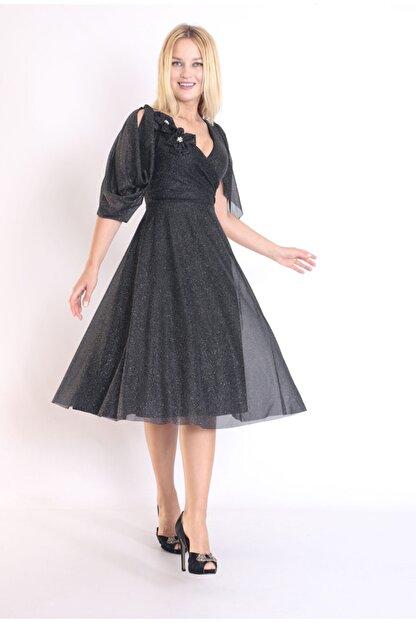 Moda Tuğram Kadın Siyah 3d Kumaş Abiye