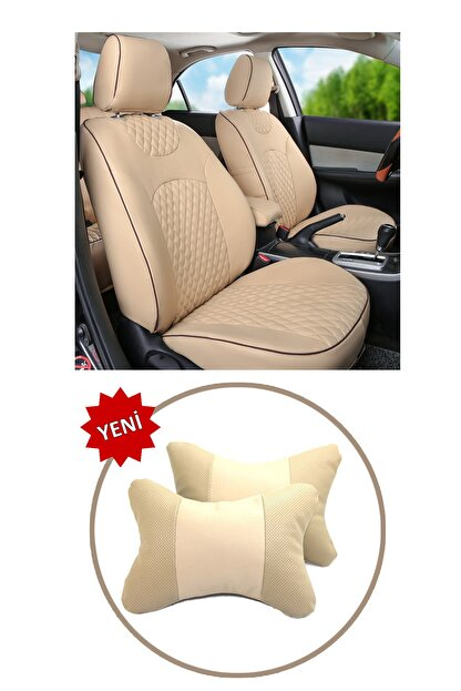 AutoFresh Dacia Lodgy Oto Koltuk Başlığı Uyumlu Bej Boyun Destek Yastığı Ortopedik Lüks Suni Deri Terletmez