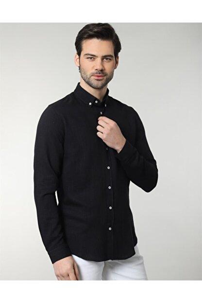Tudors Erkek  Siyah Slim Fit Keten Spor Gömlek