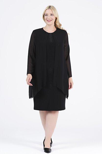 Oktay Kadın Siyah Şifon Ithal Krep Önü Taşlı Bluzan Abiye Elbise