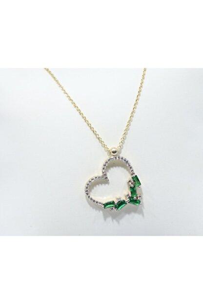GÜMÜŞ Kadın Kalpli Yeşil Taşlı Kolye