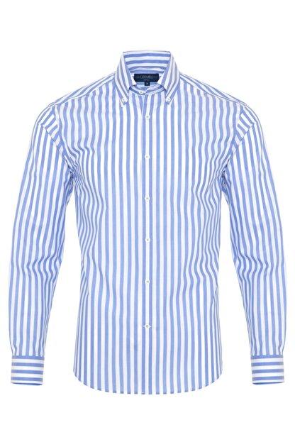 Germirli Erkek Mavi Beyaz Çizgili Düğmeli Yaka Tailor Fit Gömlek