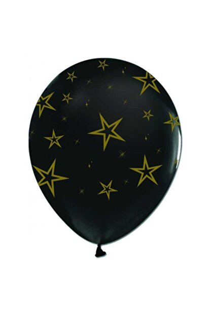 KullanAtParty Siyah Çepeçevreli Altın Yıldızlı Balon 100 Adet