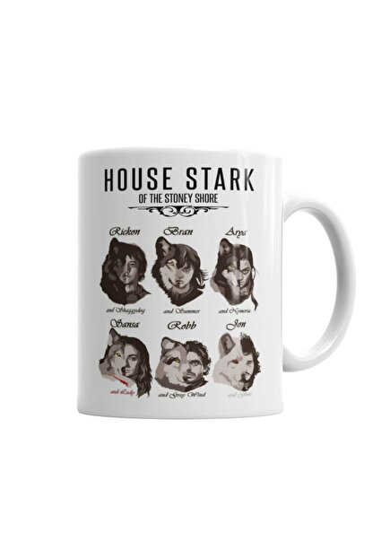 Baskı Dükkanı Game Of Thrones Stark Children And Wolves Kupa Bardak Porselen