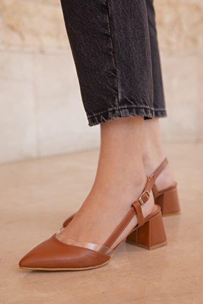 Straswans Kadın Taba Deri Topuklu Ayakkabı-Roy