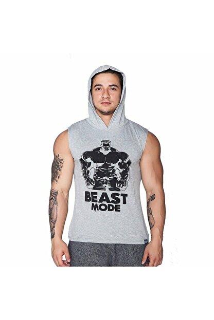 Supplementler Erkek Gri Kapüşonlu Kolsuz T-shirt
