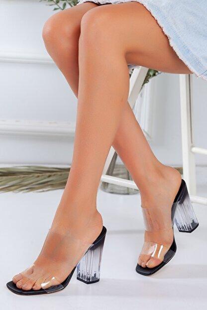 LUKKA Kadın Siyah Şeffaf Topuklu Sandalet