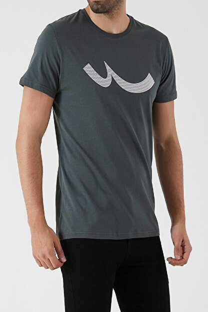 Ltb Erkek  Antrasit  Baskılı  Kısa Kol Bisiklet Yaka T-Shirt 012208415960890000