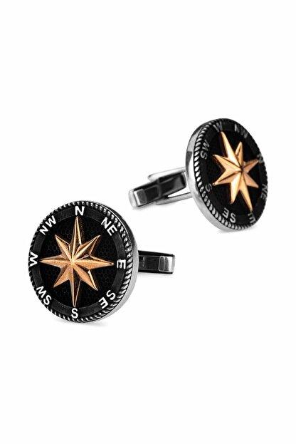 Anı Yüzük 925 Ayar Gümüş Kuzey Yıldızı Pusula Kol Düğmesi