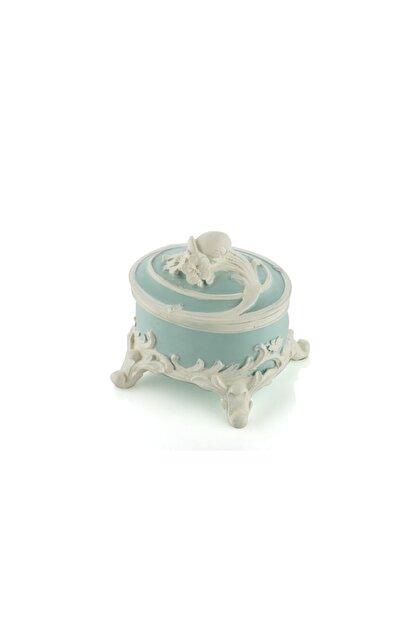 Porio Mavi Renk Beyaz Güllü Mücevher Kutusu 11X11 Cm Pr30-1103
