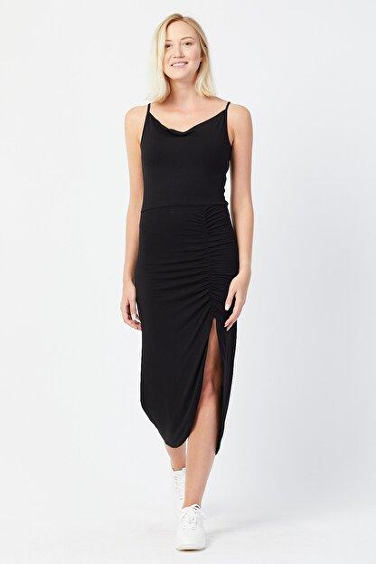 UNV COLLECTION Kadın Ince Askılı Yırtmaç Detaylı Elbise