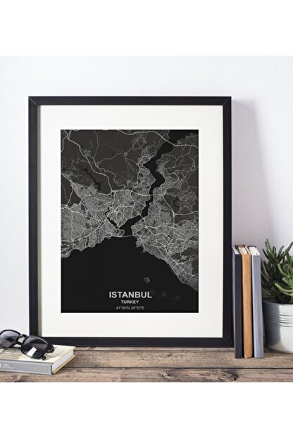 FOTOSENDE Istanbul Haritası (çizgisel) 30x40 Siyah