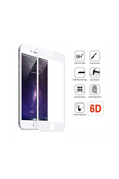 Sunix Apple Iphone 8 Plus Beyaz 6d Kavisli Temperli Cam Full Ekran Koruyucu + Silikon Kılıf