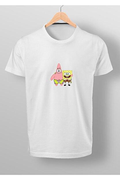 By Okat Erkek Beyaz Sünger Ve Patrick Baskılı T-shirt