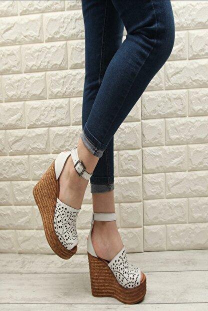 Fame Step Kadın Beyaz Hakiki Deri Dolgu Topuklu Ayakkabı
