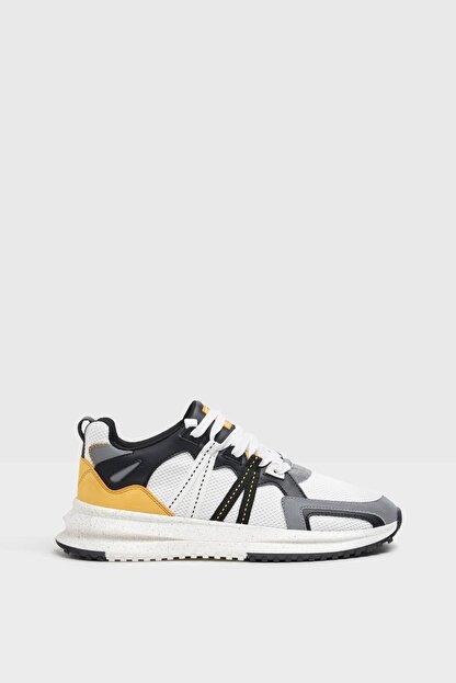 Bershka Erkek Beyaz File Şeritli Spor Ayakkabı