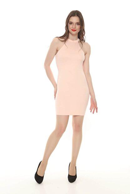 Moda Feminen Kadın Pembe Düz Kalem Elbise