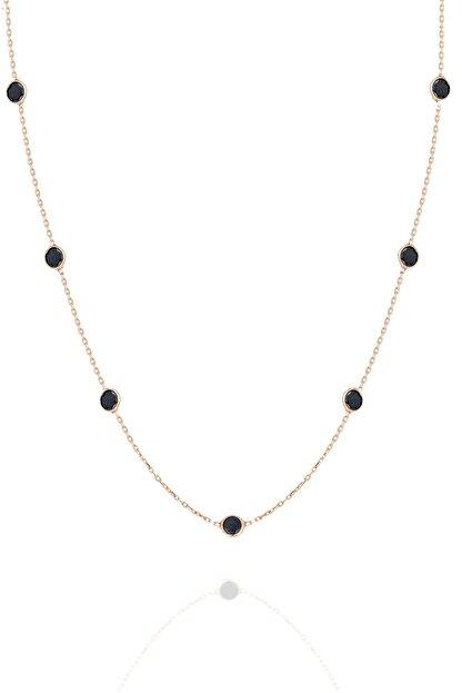 Trend Silver Gümüş 45 cm Rose Sıra Taşlı Oniks Siyah Taşlı Kolye Tiffany Kolye