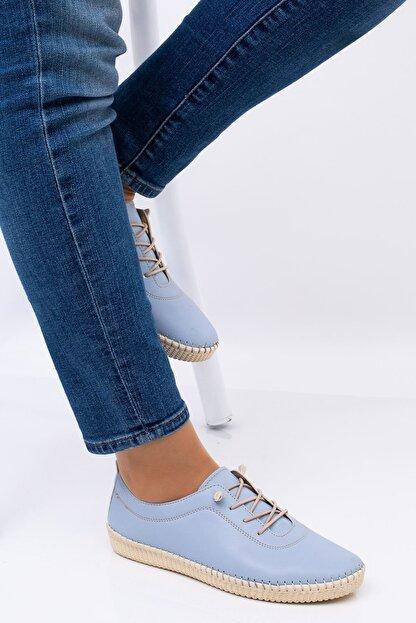 Hoba Kadın Mavi Ortopedik Lastik Bağcıklı İçi Deri Alçak Topuklu Günlük Rahat Ayakkabı