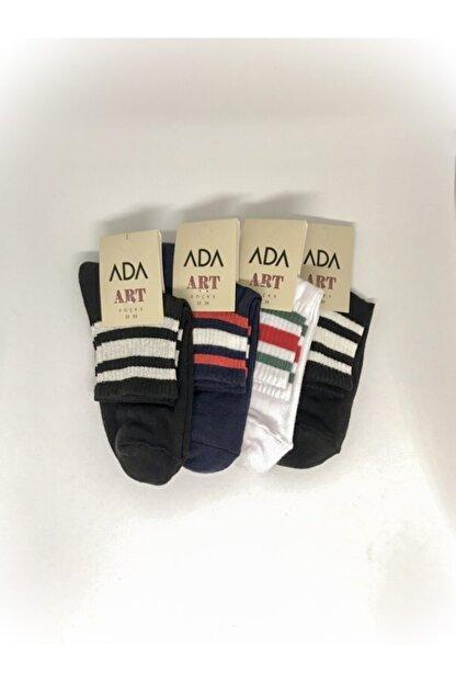 ADA Kadın Çok Renkli Çizgi Desenli 4'lü Paket Spor Çorap (35-39)