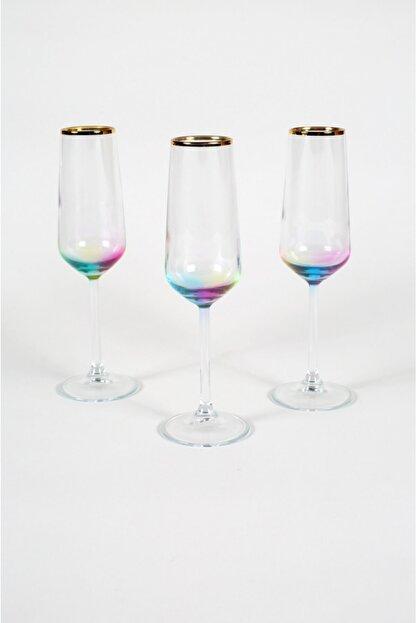 Rakle Rainbow 3'lü Şampanya Kadehi Seti 195 cc